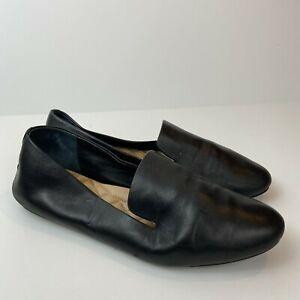 Birdies Size 9 Solid Black Leather Slip On Starling Smoking Slipper Loafers Shoe