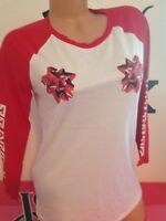 🎄Victoria's Secret PINK® M Medium Graphic Holiday 3/4 Sleeve Tee Shirt Bow