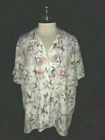 ALFRED DUNNER Plus Size 20W Blouse Shirt Top Gray Pink White Floral Short Sleeve