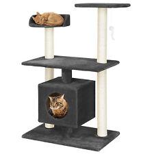 [en.casa]® Rascador para gatos gris oscuro árbol escalador sisal poste de arañar