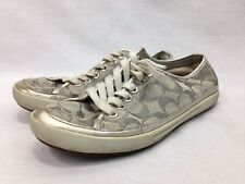 Coach Edith Shoes Sneakers Womens 6.5 Silver Metallic White Lace Up Flats