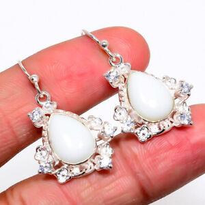 "Italian White Coral & White Topaz 925 Sterling Silver Earring 1.46"" S2680"