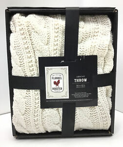 "Cable Knit Throw Blanket , In Cream ,One Size 50""x60"""