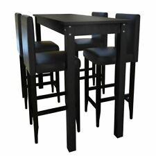 vidaXL Mesa de Bar y 4 Sillas Altas Madera Negro Set Taburete Cocina Desayuno