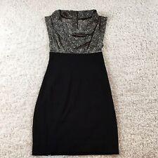 Guess Dress Women 3 Black White Herringbone Jersey Cowl Neck Fitted Skirt Career