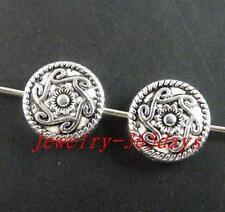 65pcs Tibetan Silver Nice Flower Flat Spacers 10x3.5mm zn26874