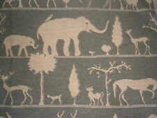Fabric-Various Animals on Dark Grey -  Home Dec Tapestry Fabric. Elephants, Deer