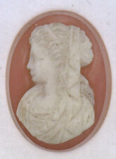 Antique Large Oval Carnelian Hardstone Cameo Stone Facing Left 22mm x 17mm #UT33
