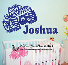 Custom Personalised Name Tractor Car Wall Art Stickers Kids Baby Boy Vinyl Decal