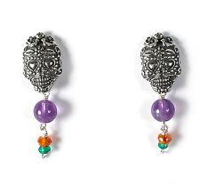 Sterling Silver Sugar Skull & Gemstone Earrings Day of the Dead Gabriela Sanchez