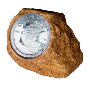 LED Solarleuchte STEIN OPTIK 4 LED BRAUN Lichtsensor Garten Dekoration Beet