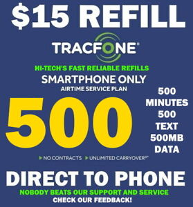 500 MINUTES TRACFONE REFILL $15 ⚡ DIRECT to PHONE ⚡ GET IT TODAY! ⚡