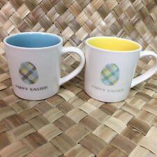 Magenta Happy Easter Egg Plaid Ceramic Coffee Mug Cup Blue Yellow Set of 2