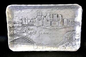 Vintage handmade Pittsburgh Skyline plaque made by Wendell August(KSF)