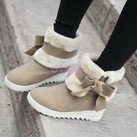 Womens Fur Lined Lady Comfort calf WInter Snow Boot Faux Suede Bowknot Flat Heel