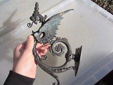 Victorian Brass Gas Wall Light Sconce Winged Lion Ornate Gilt Leaf Antique Old