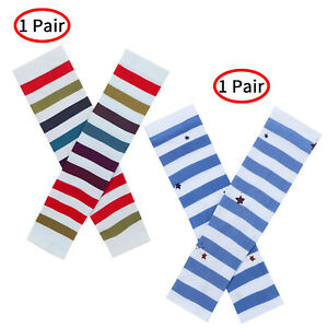 """1 Pair Women Breathable Summer Sunscreen Arm Sleeves Striped Star Protection 13"""""""