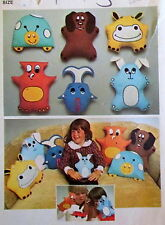 Vtg 70s transfer pattern stuffed toy childrens doll pillow dog owl FISH applique