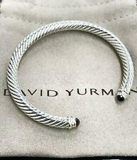 David Yurman Sterling Silver 5mm Cable Amethyst and Diamond Cuff Bracelet