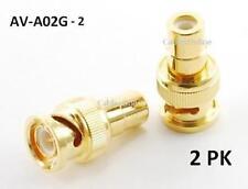 2pk Gold BNC Plug to RCA Jack Coax Adapter AV-A02G-2