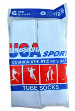 """12 Paris Mens Cotton Athletic Sports Tube Socks 26"""" Size 10-15 White Made In USA"""