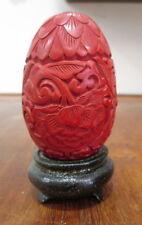 Rotlack Ei auf Sockel China Kunst