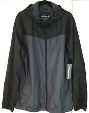 NEW MEN'S O'NEILL JACKET - Black Grey Full Zip Hooded Ski Windbreaker 2XL XXL