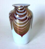 Vtg OBG Iridescent Pulled Feather Art Glass Vase