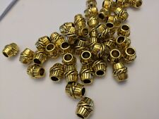 Tibetan Style, Barrel Beads, Antique Golden Color, Size 11x10mm, Hole 5mm Qty 10