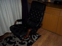 VINTAGE BLACK LEATHER 70's DANISH LOUNGER CHAIR BUTTON BACK SWIVEL RETRO CLASSIC