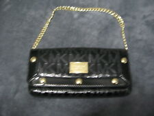 michael kors black patent signiture clutch or carry bag