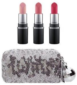 MAC-Holiday~Mini Lipstick Kit~PINK~3 Lipsticks & Sequin Bag~Rare GLOBAL SHIP!