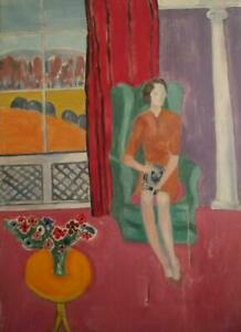 1960's BLOOMSBURY SCHOOL Lady in Minimalist Interior Oil Painting RESTORATION