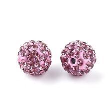 Polymer Clay Disco Ball Beads 10mm Lilac/Magenta 10 Pcs Rhinestone DIY Jewellery