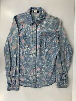 Vintage Womens Small Fire Las Angleles Button Front Pearl Snap L/S Floral Shirt