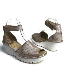 Fly London Yake Peeptoe Wedge Sandals  Rose Gold Metallic Size 39  US  8