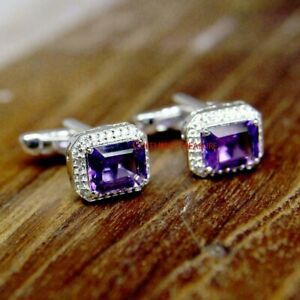 Natural Amethyst & CZ Gemstones With 925 Sterling Silver Cufflinks For Men's