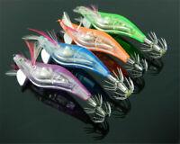 4pcs LED Light Shrimp Fishing Lure Bait Prawn Baits Tackle Squid Jigs Hooks A>