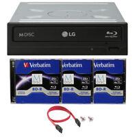 LG  WH16NS40 16X Internal Blu-ray Burner DVD Drive +3pk Verbatim M-Disc BD+Cable