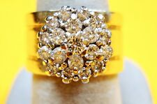 AC7 ELEGANT SOLID 14K GOLD WIDE RING Natural DIAMOND CLUSTER size 6.75 1.36 tcw