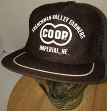 VTG 80s USA CO OP Frenchman Valley Farmers Imperial NE Trucker Hat Cap Snapback