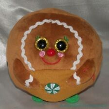 """Ty Beanie Ballz Babies Plush 6"""" Ginger The Gingerbread Cookie Gold Glitter Eyes"""