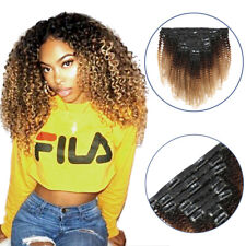 Ombre Afro Kinky Hair Clip in 100% Remy Virgin Hair Weaves Human Hair Extensions