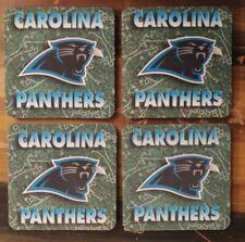 "Carolina Panthers Drink Coasters - Lot Of 4 - Rubber - Panther Logo - 4"" X 4"""