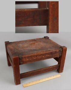 Antique Arts & Crafts Signed, Gustav Stickley, Pegged Mission Oak Foot Stool, NR