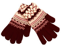 Warm Winter Gloves Knitted Womens Mens Christmas Snowflake Gloves Red
