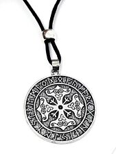 Thors Cross Hammer Viking Pendant Rune Futhark Runic Lace Corded Beaded Necklace
