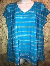 DANA BUCHMAN blouse cap sleeve semi-sheer top layer lined flowing blue L v-neck