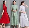 Elegant Chinese Style Qipao Women Mandarin Collar Floral Long Cheongsam Dress