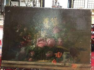HUILE SUR TOILE Ancienne Non Signee Nature morte Bouquet Fleurs decoration NR 15